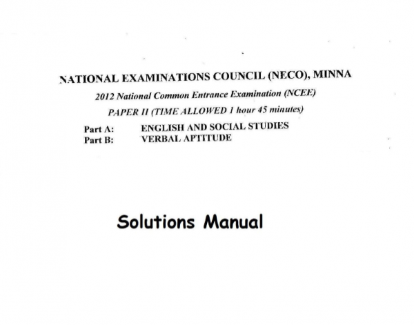 2012 National Common Entrance Exam Past Question & Answer 5