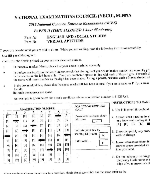 2012 National Common Entrance Exam Past Question & Answer 4