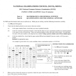 2013 National Common Entrance Exam Past Question & Answer 10
