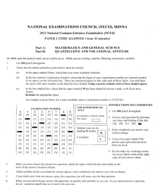2012 National Common Entrance Exam Past Question & Answer 1