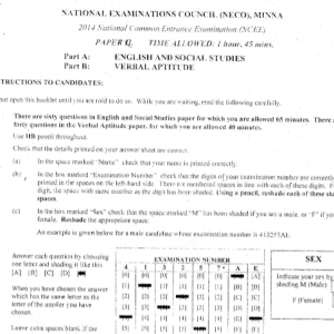 2013 National Common Entrance Exam Past Question & Answer 9
