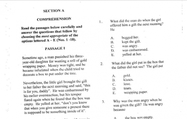 2015 National Common Entrance Exam Past Question & Answer 2