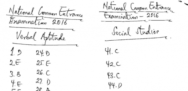 2016 National Common Entrance Exam Past Question & Answer 3