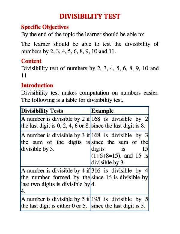DIVISIBILITY TEST 1