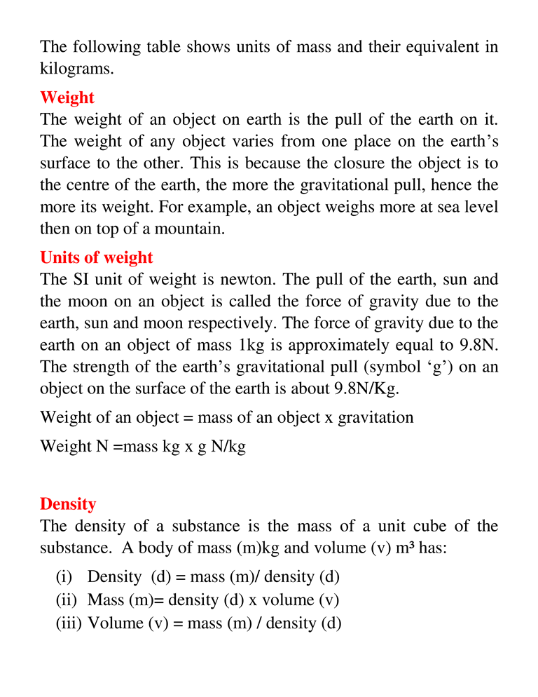 MASS, WEIGHT AND DENSITY 2